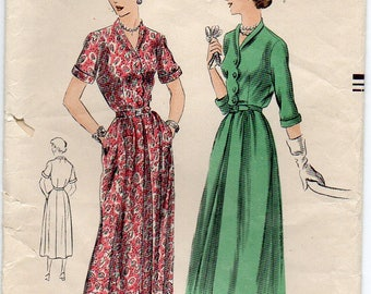 Dress With Scalloped Buttoned Front Bodice Center Inverted Pleat Vintage Plus Size 16 Sewing Pattern 1950 Vogue 6804