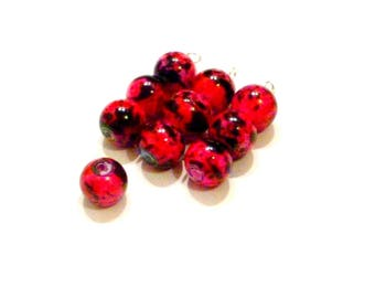 10 Red 8 mm fuchsia speckled effect black glass beads