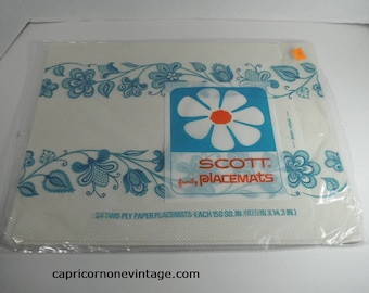 Vintage 1960s Scott family Placemats Vintage Kitsch Paper Placemats Blue & White Placemats Opened Package Movie Prop Table Setting