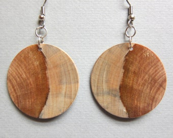 Circle, Earrings Norfolk Island Pine, Exotic Wood  hypoallergenic handmade ExoticwoodJewelryAnd