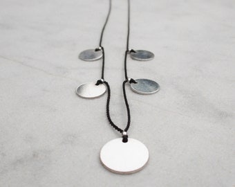 Sterling silver disk necklace, natural silk circle necklace, modern silver sequin choker, contemporary geometric necklace, everyday choker