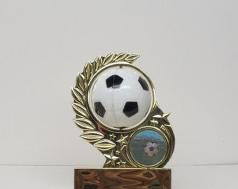 """Personalized 4"""" Soccer Trophy with Spinning Soccer Ball and Holographic Goal FREE Engraving"""