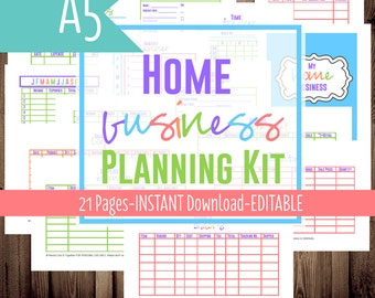 A5 Filofax Home Business Planner, Small Business, Printable Planner, A5, Half Size Planner, 21 Sheets, Instant Download
