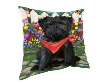 Spring Floral Affenpinscher Dog Throw Pillow