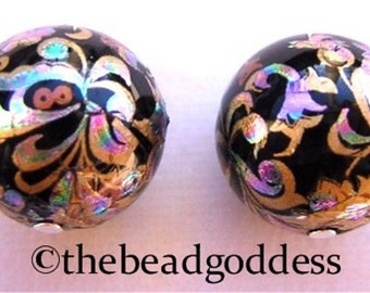 New Pair Beautiful Japanese TENSHA  Beads PEACOCK BLACK 12mm