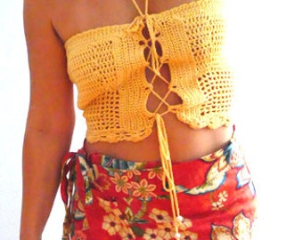 Crochet crop tube top. Yellow crochet bustier. Summer sexy strappy top. Boho crochet halter tank. Festival crochet top. Women strapless top