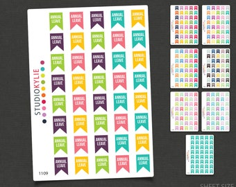 Annual Leave Flag Planner Stickers  - Repositionable Matte Vinyl