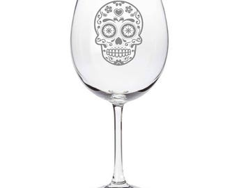 Mexican Sugar Skull Day of The Dead Calavera Inspired - Laser Engraved Wine Glass