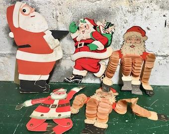 Vintage  Santa Beistle Die Cut collection of 6 honeycomb cowboy