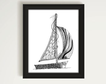 Sailboat Print, Sailboat Drawing, Black and White Drawing, Line Art, Sailboat Bathroom Art, Beach Decor, Coastal Decor, Beach Art, P1017