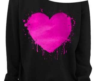 VALENTINE'S DAY HEART - Foil - Slouchy Sweatshirt - Heart Sweatshirt - Grunge - Splatter Heart - Off the shoulder - Pink Foil Imprint - s-3x