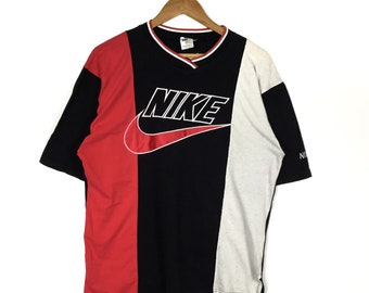 NIKE SWOSH Embroidery Big Logo Nike V-Neck Shirt Colour Block Nike