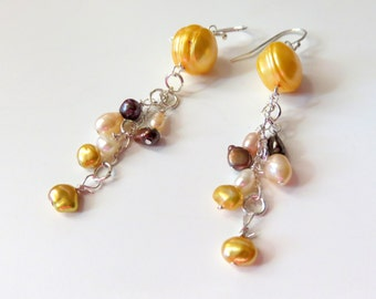 Yellow Pearl Cluster Earrings, Banded Freshwater Pearls, Sterling Silver, Long Shoulder Dusters, Long Pearl Earrings, Unique Gift For Her