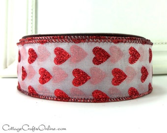 "Valentine Wired Edge Ribbon, 1 - 1/2"" wide, Red Glitter Hearts on White Sheer, TWENTY FIVE YARD Roll, ""Glitter Hearts"" Craft Ribbon"