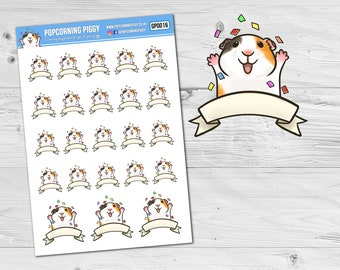 Stickers - Happy, Excited, Celebration Guinea Pig - Cartoon Style - Planner Stickers (GP0016)