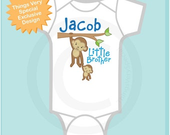 Personalized Little Brother Monkey with Big Brother Tee Shirt or Onesie (07182011a)