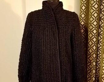 Vintage 1980's Black Persian Lamb Jacket with Vintage Trim. Size 10