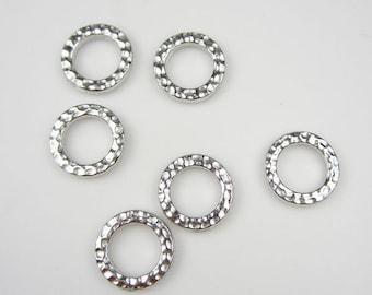 6 Silver Tierracast Small Hammertone Rings