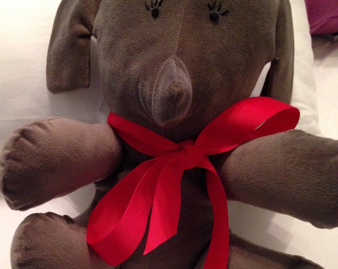 Repurposed fabric stuffed elephant gray elephant embroidered eyes small elephant red or black grosgrain ribbon 8 inches huggable repurposed