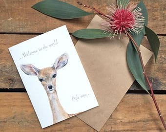 Greeting Card_Fawn_New Baby Shower Sweet Innocent Animal Card