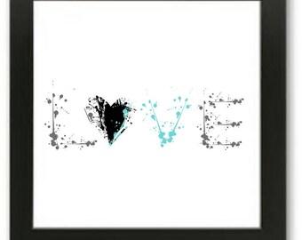 Printable Word Love in paint splash wall art