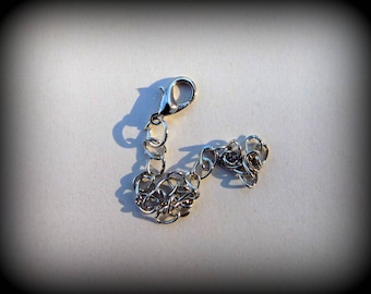 Handcuff clasp 12 mm with chain extension silver plated - individually