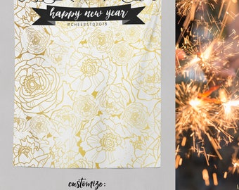 Gold Photo Booth Backdrop, NYE Bash Party, Custom Party Photo Booth, Gold Banner, Party Photo Backdrop, Step and Repeat / H-T18-TP REG1 AA3
