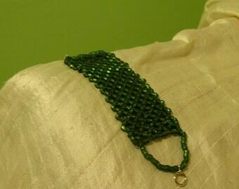 Green Lacy Peyote Bracelet
