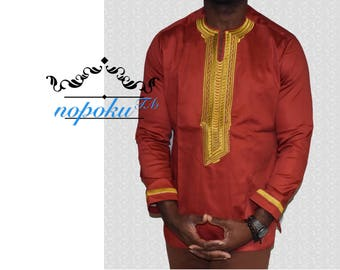 Mens' embroidery shirts, Mens' kaftan top,African print shirts,Ankara embroidery mens' shirt, Tunic shirt, Men's shirts, African Clothing