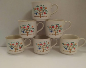 "Stoneware by Hearthside ""Eden"" pattern set of 6 Coffee Mugs"