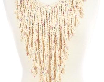 Confetti Crochet Fringe Necklace - Statement Necklace