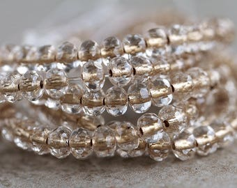 3x5mm Clear Crystal & Bronze lining Rondelle Beads, Czech Glass Beads, Fire Polished beads, Glass Gemstone Cut Donuts (100pcs) NEW