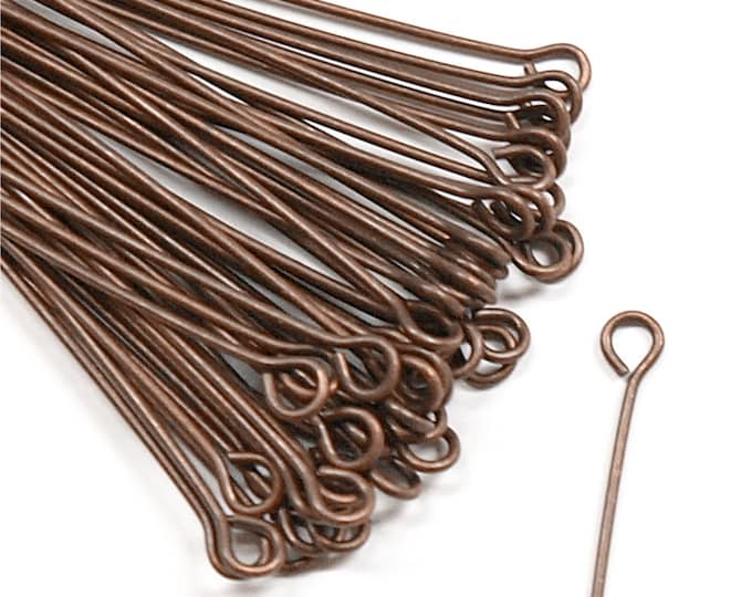 CLOSEOUT - Eye Pin, 2 in/21 ga, Antique Copper - 500 Pieces (EPBAC-5021)