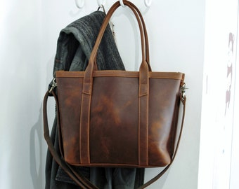 Distressed leather tote bag, leather bag, tote bag, leather purse, leather handbag, leather laptop bag