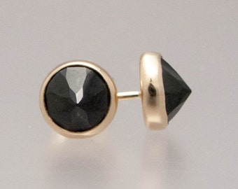 Black Spinel and Gold Spikes - 6mm solid 14k yellow gold bezel stud earrings - Ready to Ship