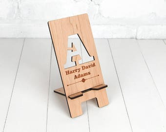 Personalised Docking Station - Electronic Stand - Wooden Mobile Phone Stand - Initial & full name personalisation