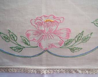 Vintage Embroidered Table Runner Featuring Aqua Baskets With Pink, Purple And Yellow Flowers
