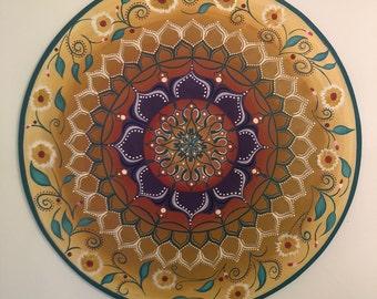 Wall hanging Mandala art, acrylic painting on wood, Mandala painting, Sacred geometry art, yoga gifts, Bohemian home decor, Geometric art