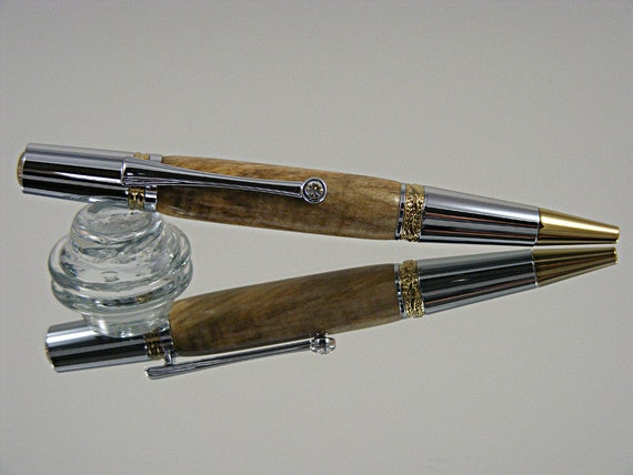Handcrafted Majestic Ink Pen in Gold TN and Chrome with Spalted Maple