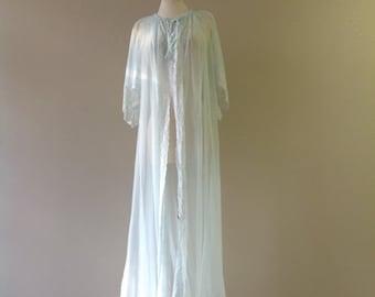S/M / Peignoir Robe Dressing Gown / Sheer Baby Blue Nylon Chiffon / Long / Small/Medium / FREE Usa Shipping