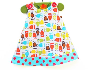 Rainbow Owls - Polda Dots - Girls Dress - Party Dress - Baby Girl Clothing - Todller Clothing - KK Children Designs