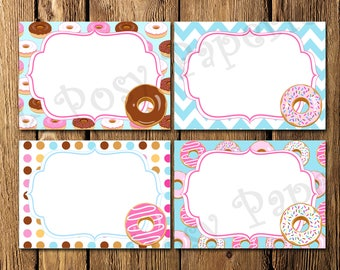Printable Donut Birthday Party Food Labels - Instant Download