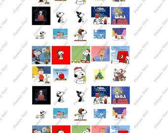 CHARLIE BROWN  SNOOPY 1 inch scrabble tiles DIGITAL IMAGES COLLAGE SHEET