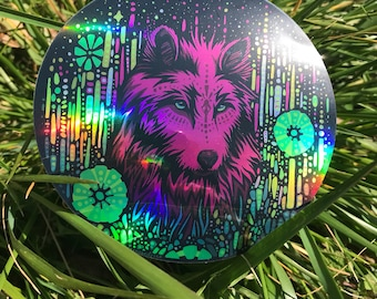 "Holographic Floral Wolf 4""waterproof vinyl sticker"
