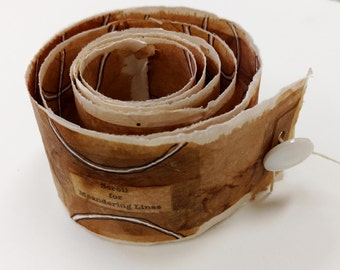 Paper Teabag Scroll with Ink Line Drawing / Scroll for Meandering Lines