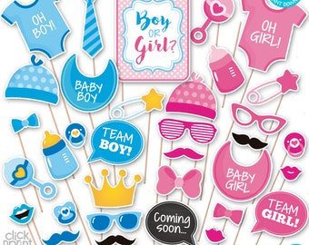 Gender Reveal Baby Shower Print Yourself Photo Booth Props - Baby Shower Printable Photo Props Set - Gender Reveal  hotobooth - Baby Shower