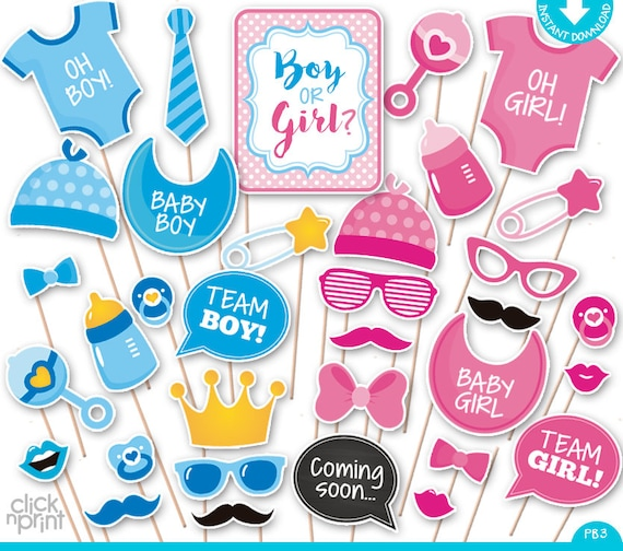 Gender Reveal Baby Shower Print Yourself Photo Booth Props