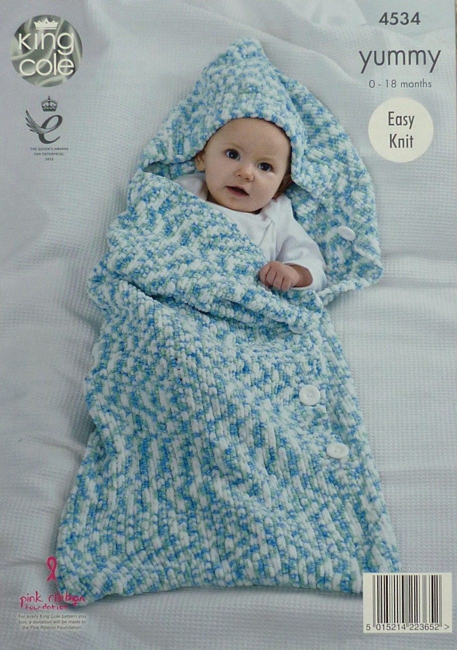 Baby Knitting Pattern K4534 Babies Easy Knit Cocoon Sleeping