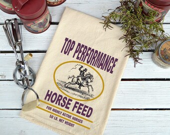 Flour Sack,  Feed Sack, Feed Sack Towel, Horse Towel, Kitchen Towel, Cotton Towel, Dish Towel,  Tea Towel, Top Performance. Horse Feed