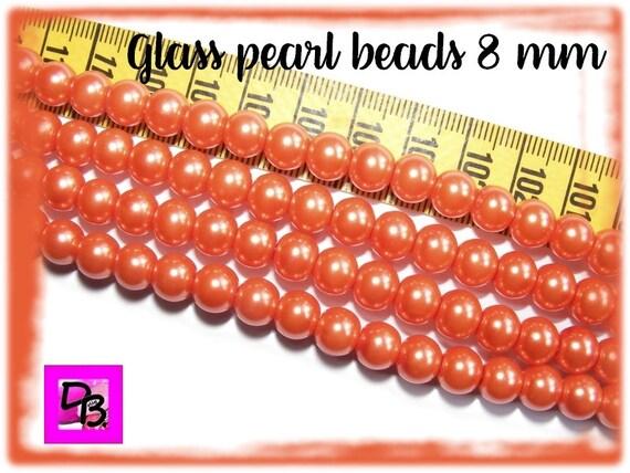 10 perles nacrées [Corail] 8 mm